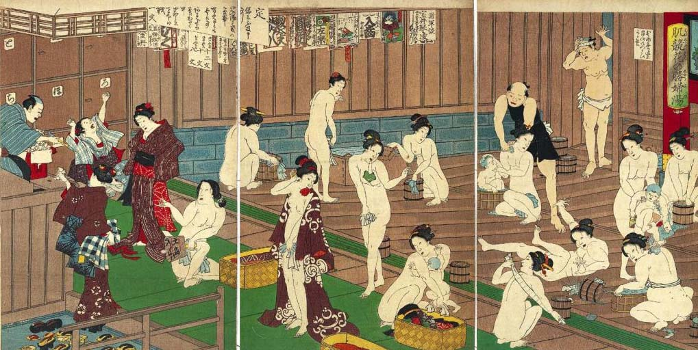 Old Japanese Onsen Painting