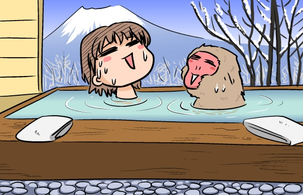 Evacomics soaking in Japanese spa bathtub with a monkey